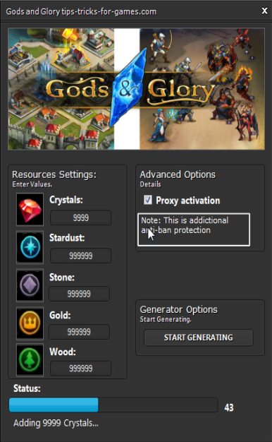 Gods and Glory Hack add Unlimited amounts of Coins and Diamonds